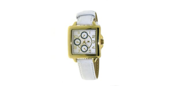 Dámské zlato-bílé náramkové hodinky Tommy Hilfiger