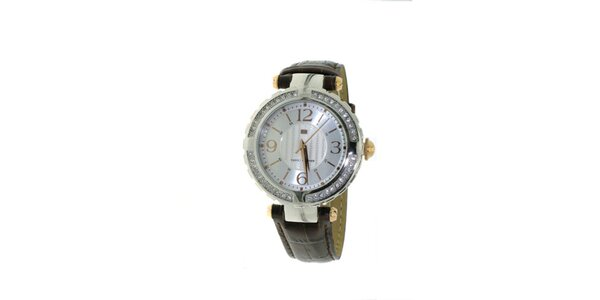 Dámské hnědé náramkové hodinky Tommy Hilfiger s krystaly