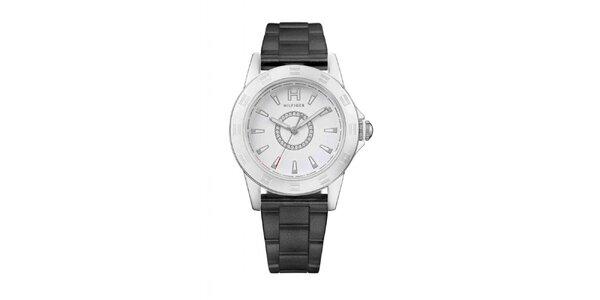 Dámské ocelové náramkové hodinky Tommy Hilfiger s černým páskem