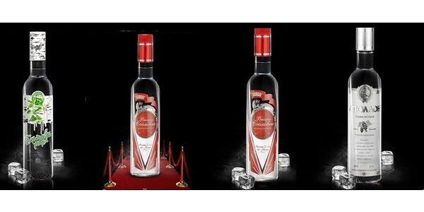 Apollon vodka 40% 0,5 l, Krepost vodka 45% 0,5 l, Vysshee Soslovie vodka 40% 0…