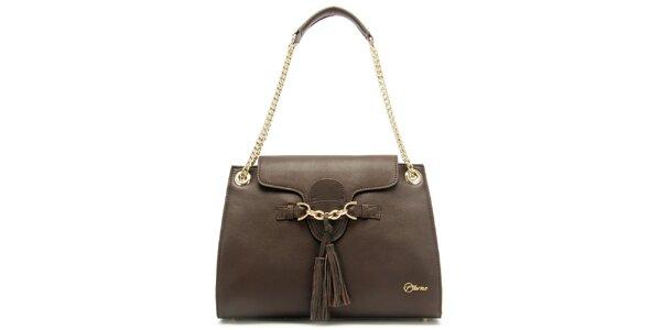 Dámská kožená hnědá kabelka s třásněmi Florian London