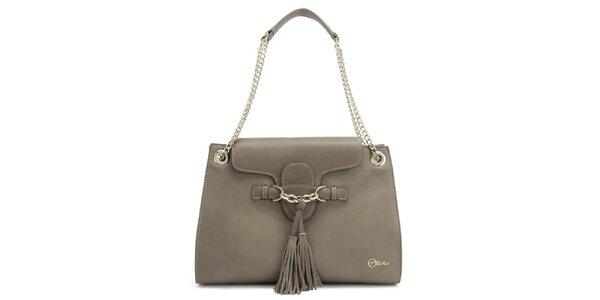 Dámská kožená šedá kabelka s třásněmi Florian London