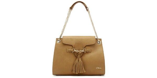 Dámská kožená béžová kabelka s třásněmi Florian London