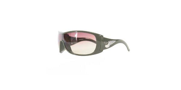 Unisexové khaki sluneční brýle s vínovými skly Diesel