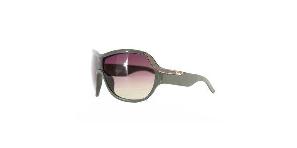 Dámské khaki sluneční brýle s fialovými skly Diesel