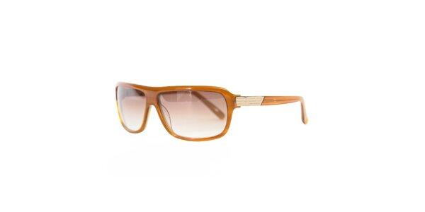 Unisexové karamelové sluneční brýle s hnědými skly Diesel
