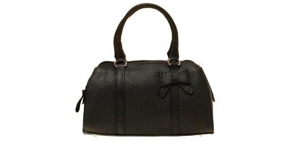 Dámská černá kožená kabelka s mašlí