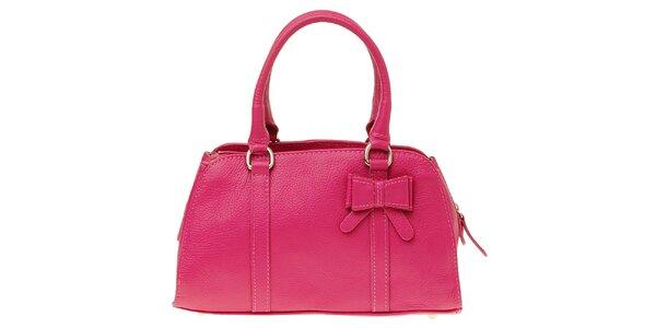 Dámská růžová kožená kabelka s mašlí