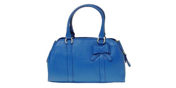 Dámská královsky modrá kožená kabelka s mašlí