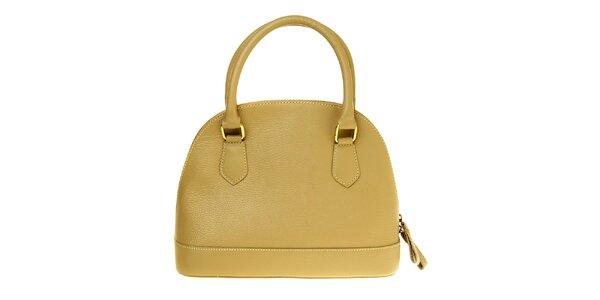 Dámská béžová kožená kabelka se zlatými prvky