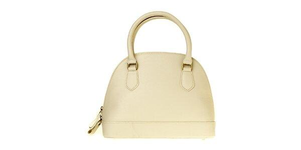 Dámská krémově bílá kožená kabelka
