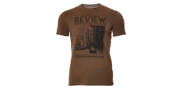Pánské tmavě hnědé tričko Unitryb s černým potiskem