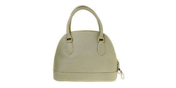 Dámská šedá kožená kabelka s mosaznými prvky