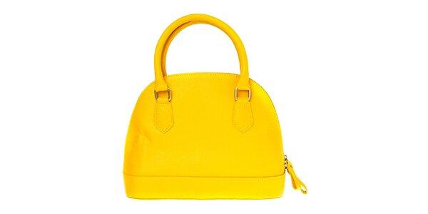Dámská kanárkově žlutá kožená kabelka