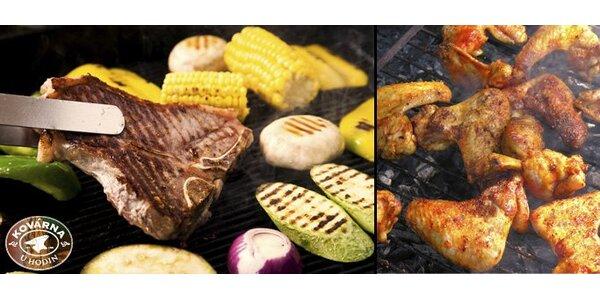 269 Kč za Kovářskou rodinnou žranici s 1,5 kg masa, zeleninou a brambory.