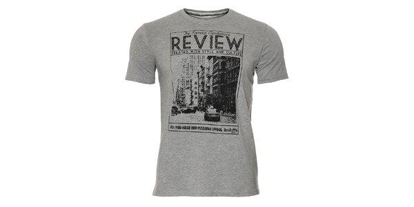 Pánské šedé tričko Unitryb s černým potiskem