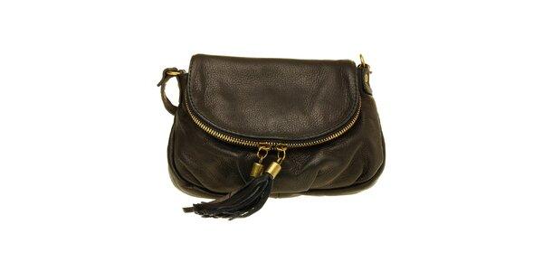 Dámská černá kožená kabelka se střapci