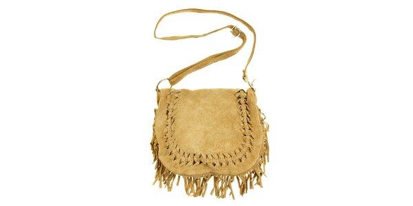 Dámská béžová semišová kabelka s třásněmi a proplétáním