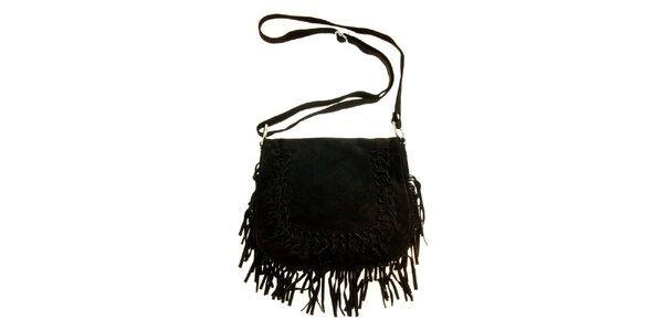 Dámská černá semišová kabelka s třásněmi a proplétáním