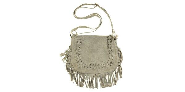 Dámská šedá semišová kabelka s třásněmi a proplétáním