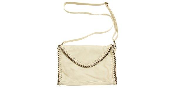 Dámská béžová kožená kabelka s řetízkovým pletením a1ed413e9bd