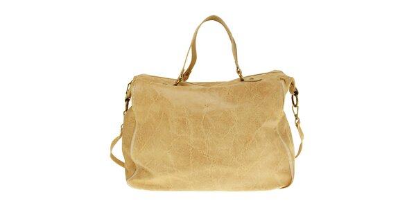 Dámská béžová kožená kabelka s žíhaným povrchem