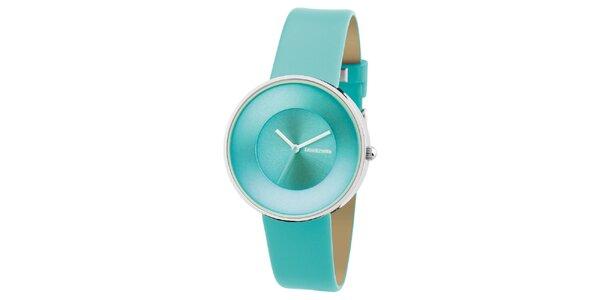 Tyrkysové hodinky s koženým řemínkem Lambretta