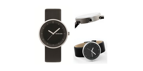 Černé retro hodinky s koženým řemínkem Lambretta