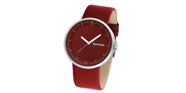 Červené hodinky s koženým řemínkem Lambretta