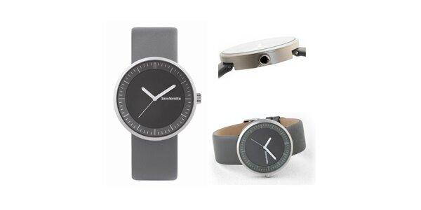 Šedé retro hodinky s koženým řemínkem Lambretta