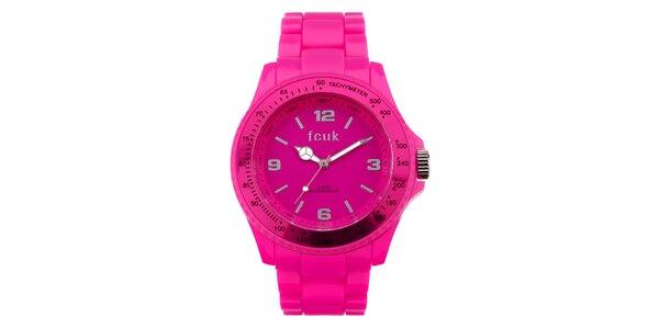 Dámské neonově růžové sportovní hodinky French Connection
