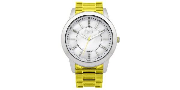 Dámské ocelové hodinky French Connection se žlutým plastovým řemínkem a kamínky