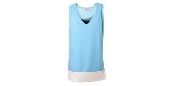Dámské bledě modré šaty Kzell s bílým lemem