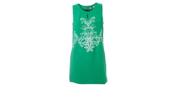 Dámské mátově zelené šaty Kzell s bílou výšivkou a barevným zipem