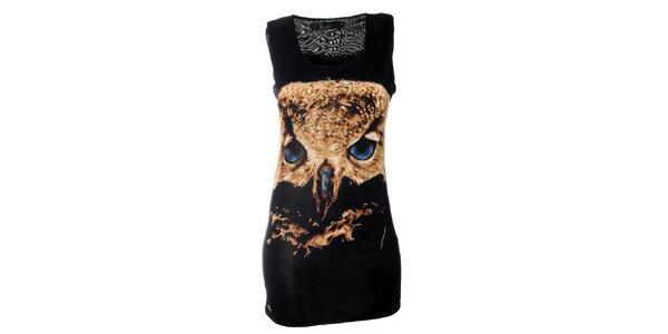 Dámské černé minišaty Kzell se sovou