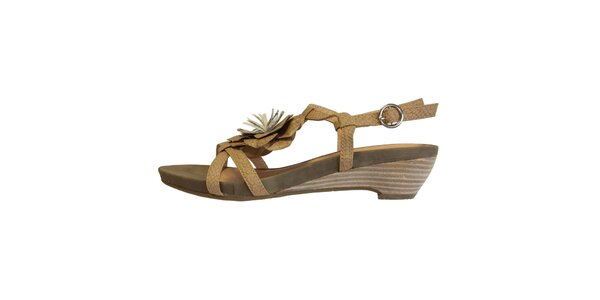 Dámské béžové sandálky s květinou Vanelli