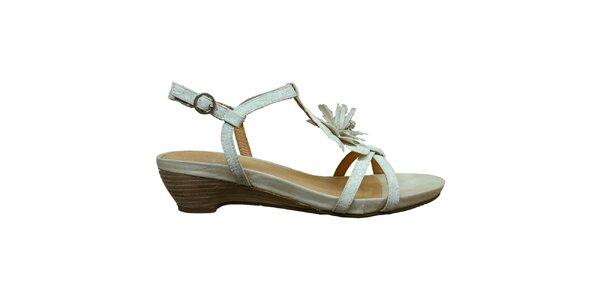 Dámské bílé sandálky s květinou Vanelli