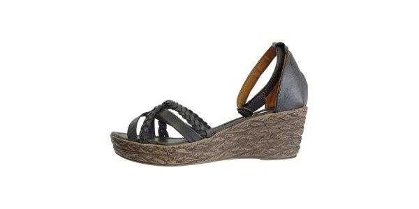 Dámské temně modré sandále s pletenými pásky Vanelli
