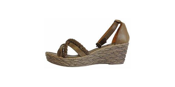 Dámské hnědé sandále s pletenými pásky Vanelli