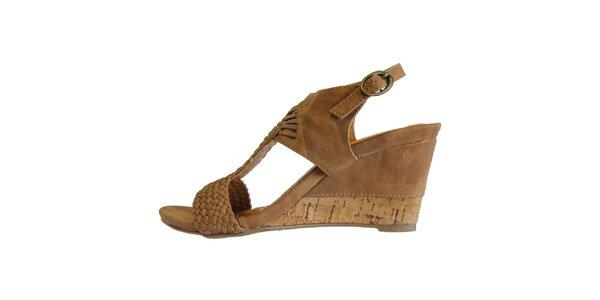 Dámské hnědé proplétané sandále Vanelli