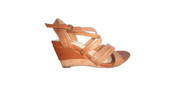 Dámské karamelové sandálky s pletenými pásky Vanelli