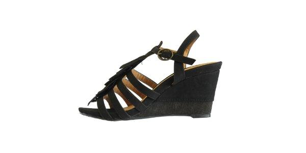 Dámské černé sandále s ofinkovým ornamentem Vanelli