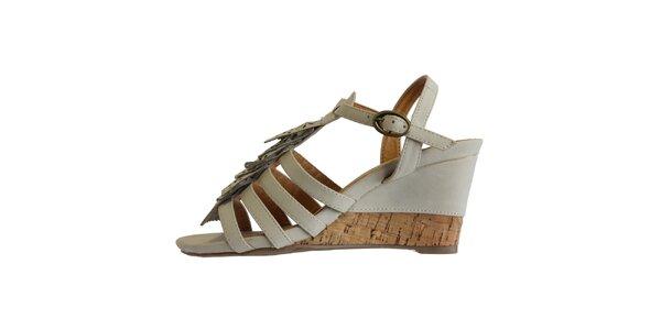 Dámské ledově bílé sandále s ofinkovým ornamentem Vanelli