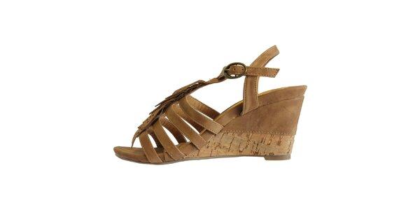 Dámské karamelové sandále s ofinkovým ornamentem Vanelli