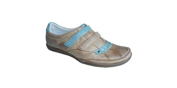 Dámské béžovo-modré boty s výraznými stehy Vanelli