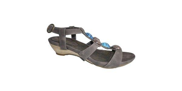 Dámské kávové sandále s ozdobnými kameny Vanelli