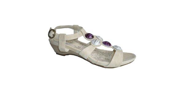 Dámské ledově bílé sandále s ozdobnými kameny Vanelli
