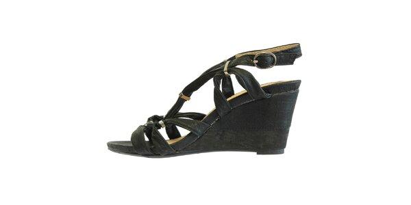 Dámské černé sandále s kovovými přezkami Vanelli