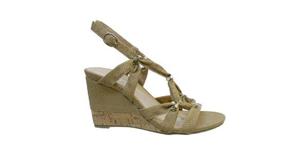 Dámské béžové sandále s kovovými přezkami Vanelli