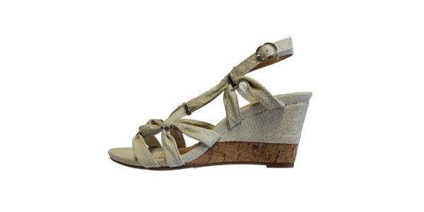 Dámské bílé sandále s kovovými přezkami Vanelli